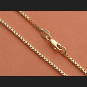 """Solid Yellow Gold Box Chain 24"""" Men's Necklace"""